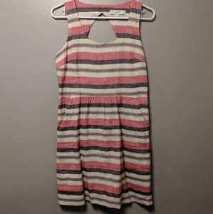 Ann Taylor linen cotton striped summer dress